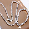 Free Shipping Wholesale Fashion Jewelry Set,Flash twisted rope 2 Piece set,925 Sterling silver Necklace&Bracelet&Earrings T018