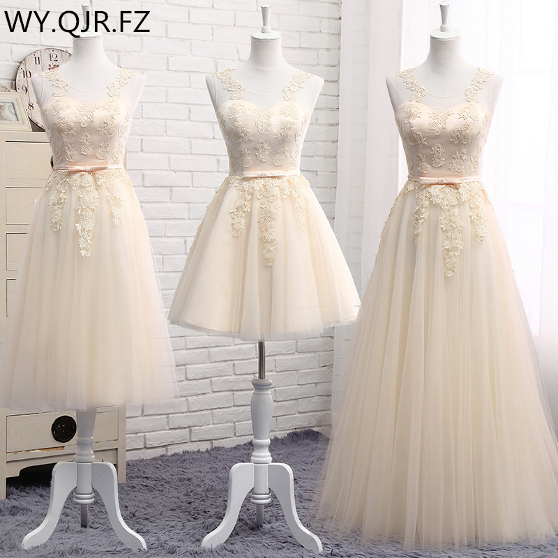 MNZ-810#Three Styles Of Long Medium And Short Champagne 2019 Spring Summer Lace Up Bridesmaid Dresses Wedding Prom Party Dress