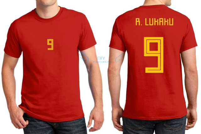 2018 Printed for name T-shirt 9 Romelu Lukaku red yellow t shirt for Belgium  fans gift 0322-3 02d486ce5
