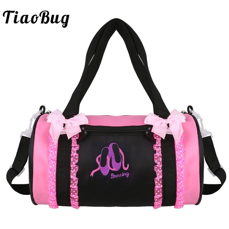 TiaoBug Kids Ballet Dance Bag Bowknot Ruffle Lace Embroidery Duffel Bag Hand Bag Ballerina Party Dance Class Girls Shoulder Bag