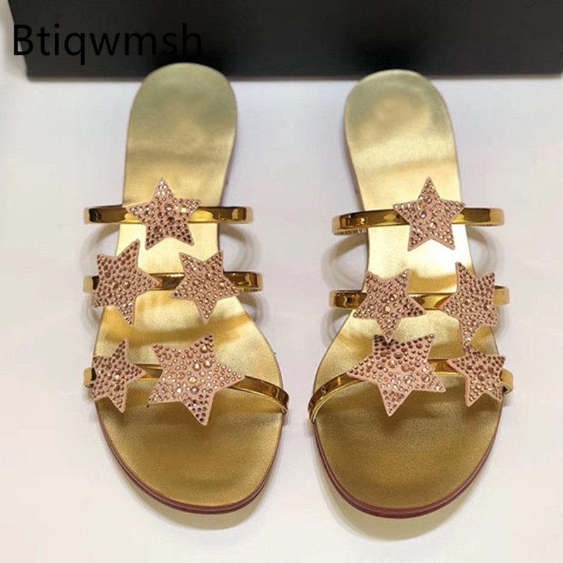 2019 Gold Leder Hausschuhe Frauen Offene spitze Strass Stern Flache Schuhe Frau Gladiator Sandalen Strand Hausschuhe-in Hausschuhe aus Schuhe bei  Gruppe 1