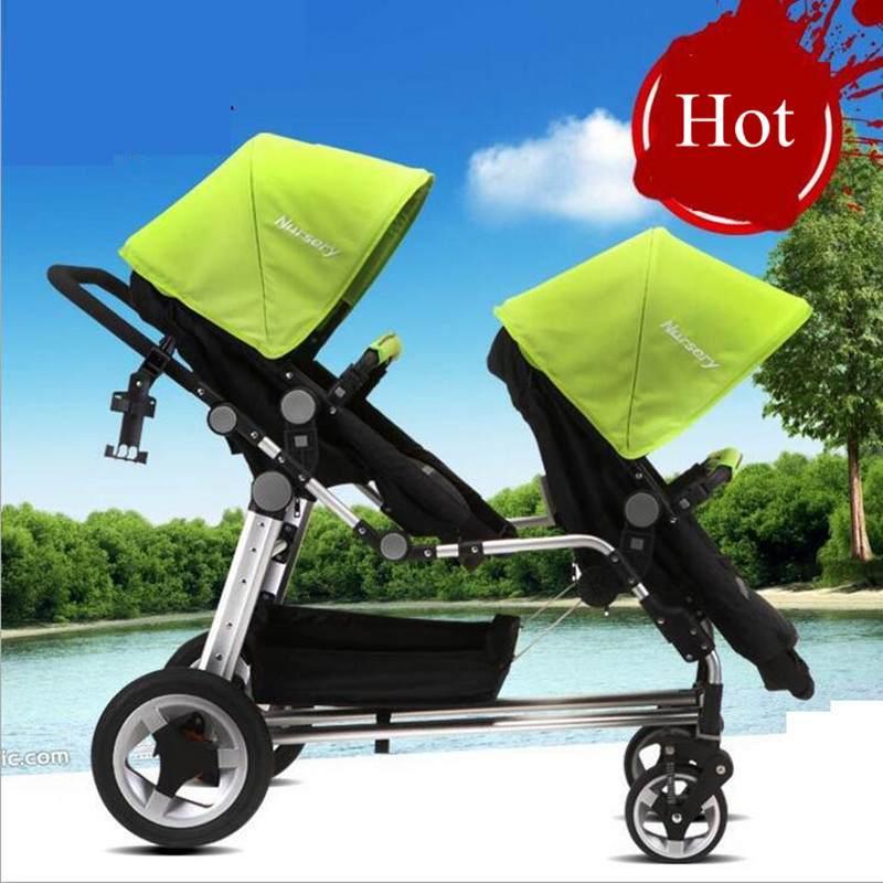 2 Babies Pushchair Pram Twins Carriage Strollers Absorbers Baby Stroller High Landscape Kids Trolley 30cm Inflatable Free  Tires avoid the ultraviolet radiation with the canopy pushchair baby build a safe soft environment for babies boys and girls pushchair