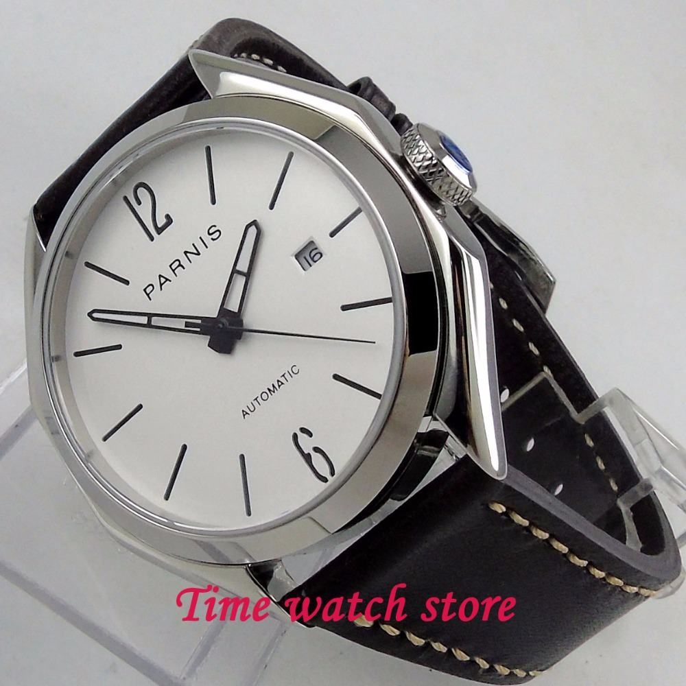 PARNIS 43MM mens watch polished Octagon case 5ATM white sandwich dial sapphire glass MIYOTA Automatic movement wrist watch 1236PARNIS 43MM mens watch polished Octagon case 5ATM white sandwich dial sapphire glass MIYOTA Automatic movement wrist watch 1236