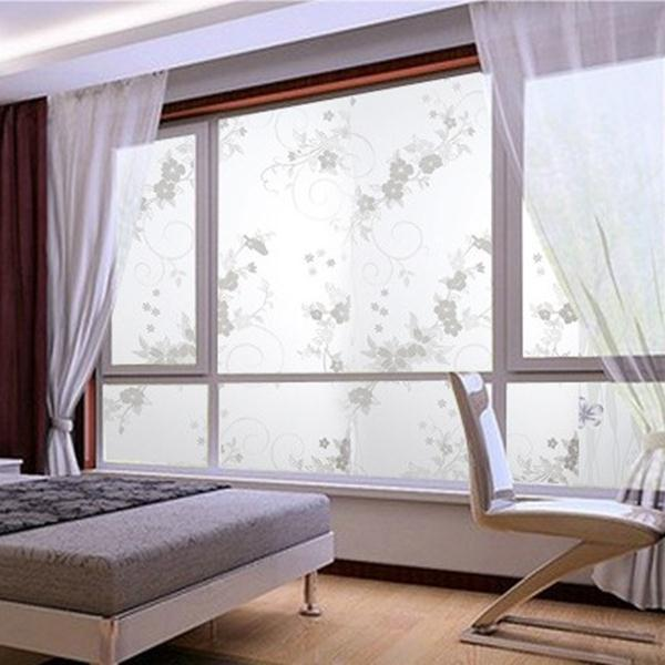 sweet 45x100cm frosted privacy cover glass window door plum flower
