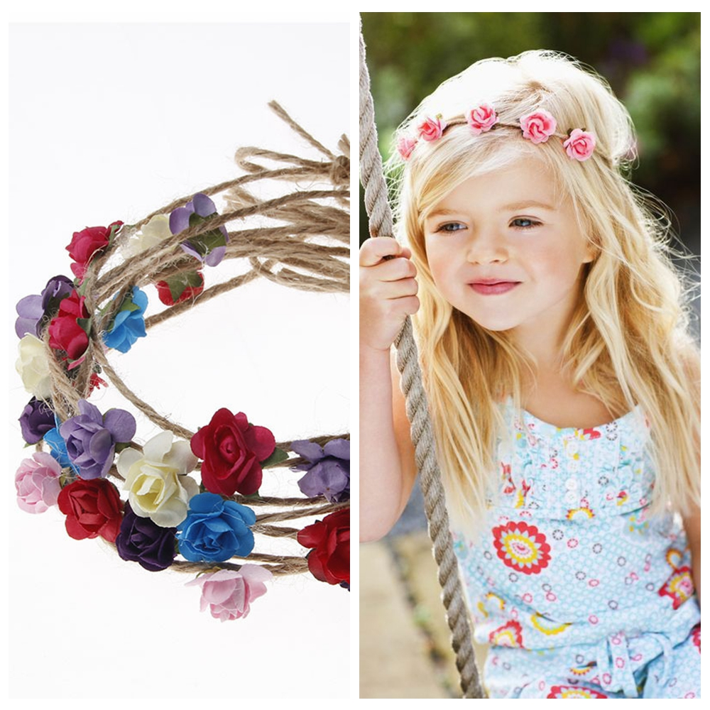 Yundfly Chic Newborn Rose Flower Headband Hemp Rope Children Hair Band Outdoor Party Headwear Kids Hair Accessories