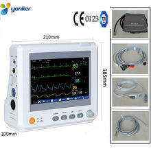 8 Inch ICU CCU Patient Monitor Multiparameter ECG Oximeter Blood Pressure Pulse Rate Temperature Respiration Medical Health Care abpm50 ce fda approved 24 hours patient monitor ambulatory automatic blood pressure nibp holter with usb cable