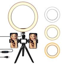 fosoto Photographic Lighting 3200K-5500K Dimmable LED Selfie Ring Light Lamp 16/26cm For Camera Phone Makeup Video Live Studio 480 led video light studio lighting lamp 3200k 5600k professional photographic lighting set ge 500