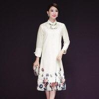 プラスサイズ2017新しい秋の女性ドレス漢改善長い袍inir日常のドレス白アプリコット6681