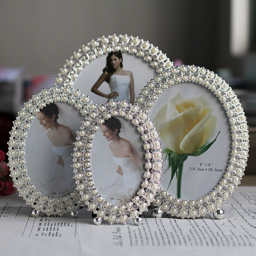 Decoration photo frame metal pearl frame articles creative for Articles decoration