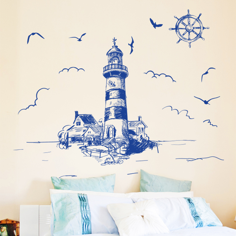 [SHIJUEHEZI] Offshore Beacon Birds Wall Sticker DIY Interior Design for Living Room Sofa Background Decoration adesivo de parede