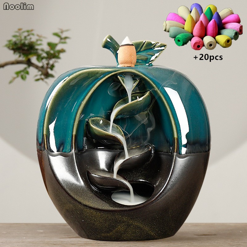 Apple Pear Shaped Backflow Incense Burner Waterfall Aromatherapy Furnace Censer Incense Holder Home Decor + 20pcs Incense Cones