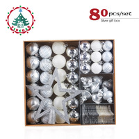 inhoo Silver Christmas Decoration Snow Ball Tree Hanging White Ornaments Gifts Polystyrene Balls Wedding Party Decor for Home