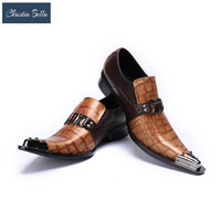 Christia Bella Snakeskin Genuine Leather Handmade Fashion British Business Suits Men's Shoes Gold Tip Toe Mens Party Dress Shoes