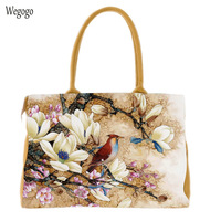 Women Handbag National Chinese Peacock Painted Canvas Bags Colorful Flower Travel Beach Shoulder Bag Leisure Cloth Tote Bag