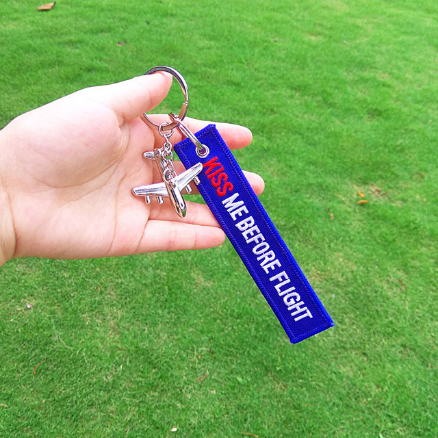 FLIGHT CREW Keychain Double Sided Embroidered
