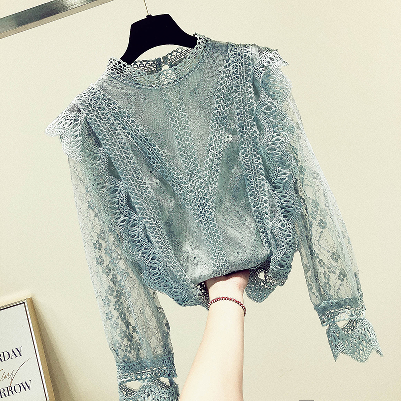 MUMUZI Chiffon Lace Women Tops Long Sleeved Blouses Lace Patchwork Sexy Style Female Shirts Fashion Women Clothing Lace Blouses