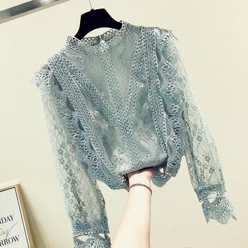 MUMUZI chiffon lace women tops long sleeved blouses patchwork sexy style female shirts fashion clothing
