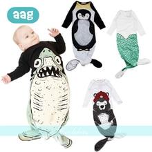 AAG Mermaid Baby Sleeping Bag Shark Cotton Anti-kick Pajamas Envelope for Discharge Newborns Wrap Stroller