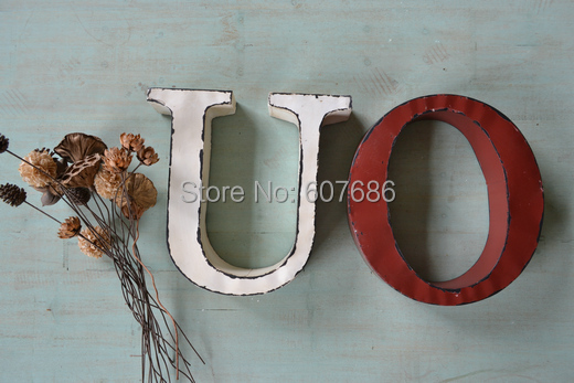 3 pieces vintage style hanging tin letters 26 letter metal for Large vintage marquee letters
