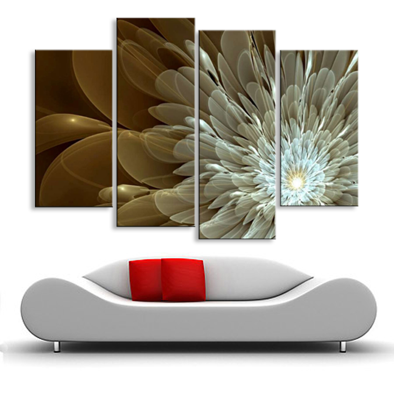 Wall Painting 4 pieces high-definition print flowers canvas painting poster and wall art living room picture PF4-001