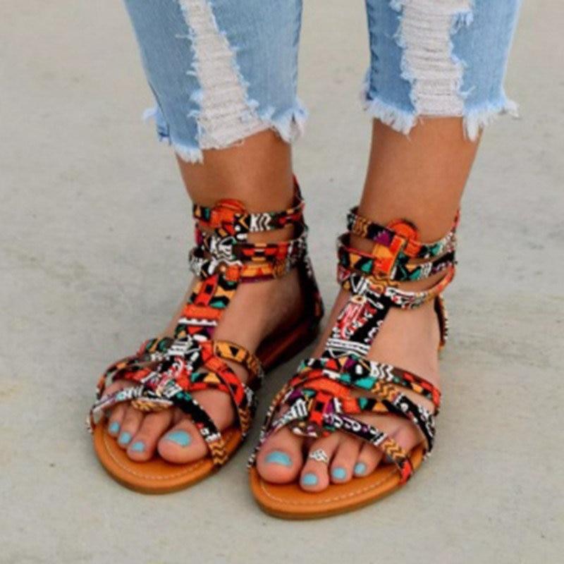 Taille Plat Femelle Sandale Chaussures Mujer D'été Femmes Plage Plus 43 Romain orange Sky 34 Sandalias Gladiateur Coloré Boho La Bohème Blue Bf4xwq