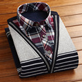 Winter male faux two piece plus velvet thermal shirt casual sweater pullover cardigan thickening false second pieces shirt