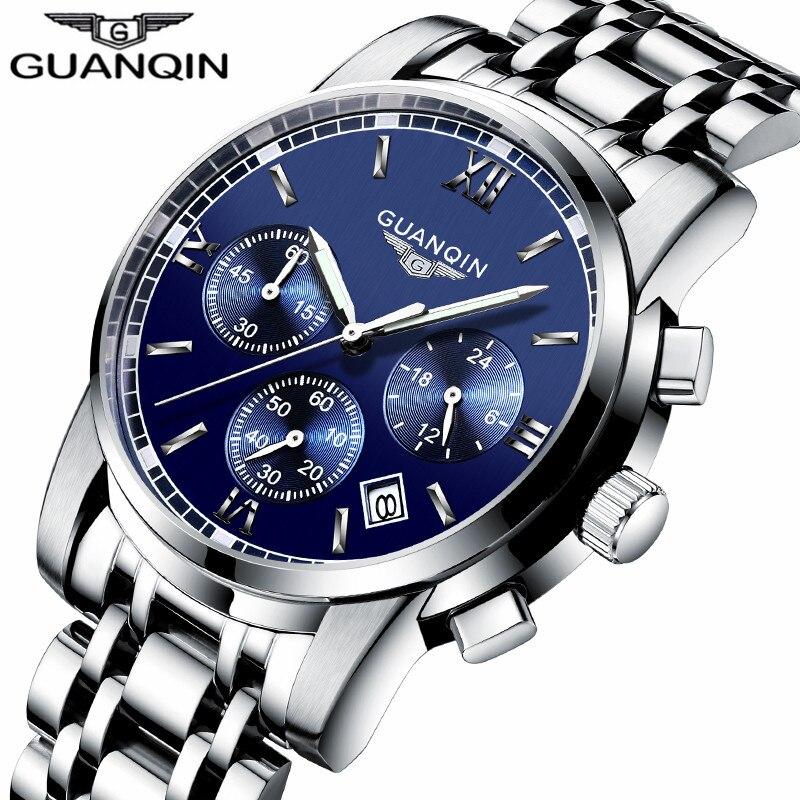 Relogio Masculino Guanqin Mens Watches Top Brand Luxury Fashion Business Quartz Watch Men Sport Full Steel Waterproof Wristwatch-in Quartz Watches from Watches    2