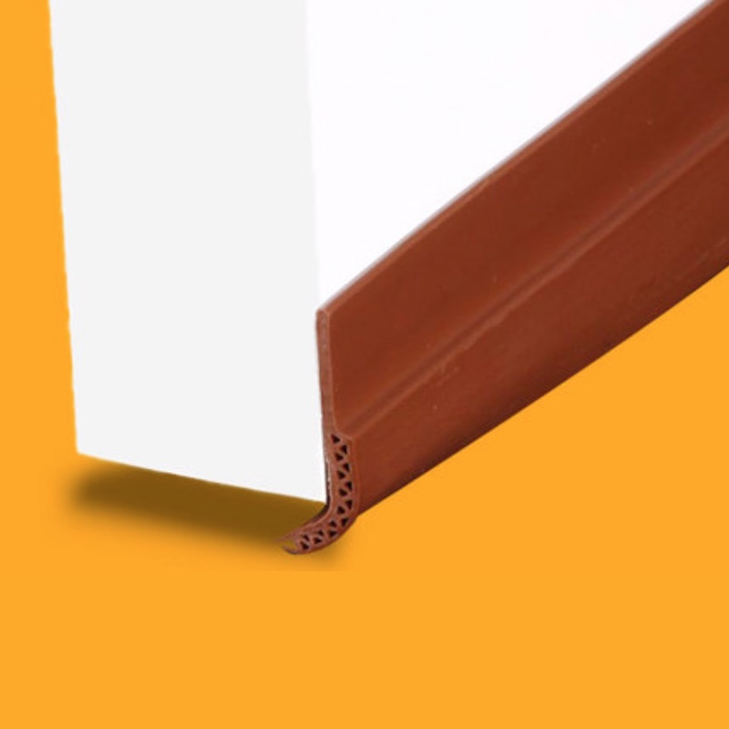 Acoustic Door Bottom Sweep Silicone Draft Stopper Adhesive Threshold Seal 28mm x 910mm Brown Brown Gray White