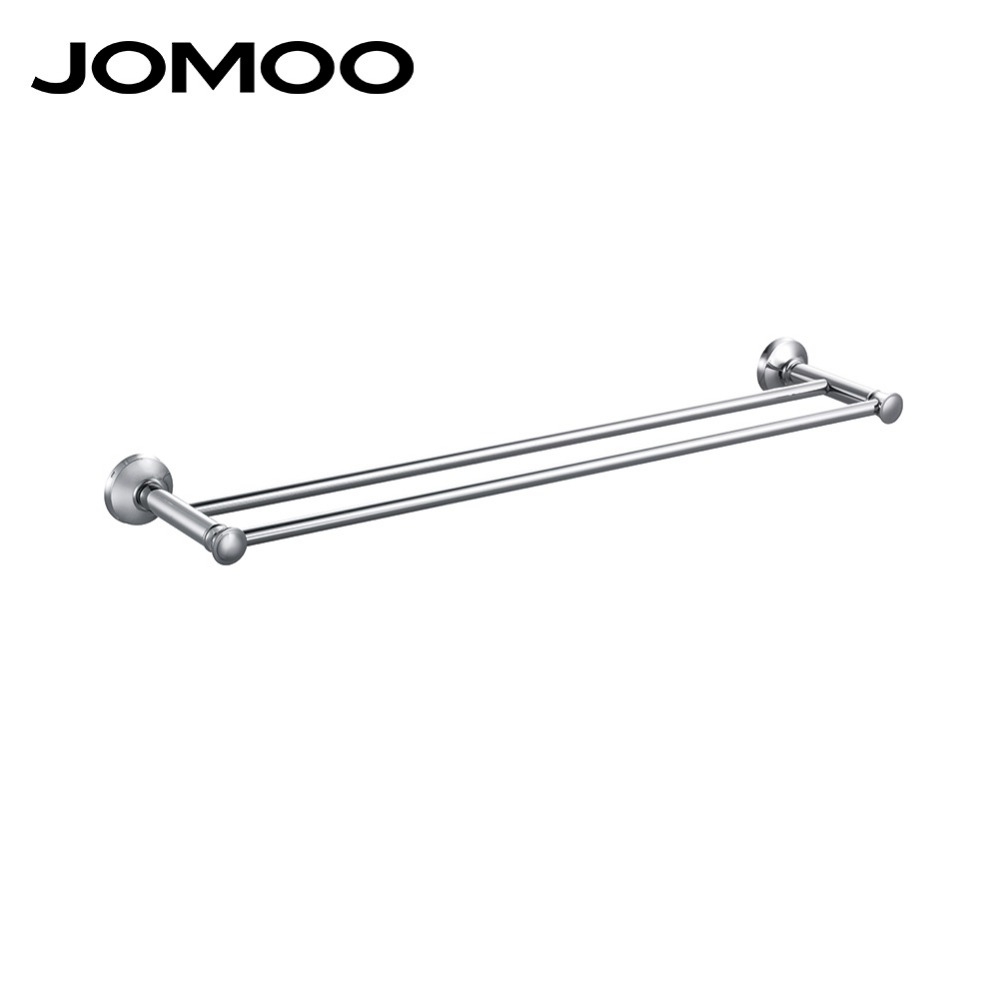 JOMOO brass Material Double Towel Bar Wall Mounted Towel Holder hanger Towel rack Bathroom Accessories Modern Style free shipping wall mounted bathroom accessories oil rubbed bronze black double towel bar towel holder bathroom hardware yl 4711h