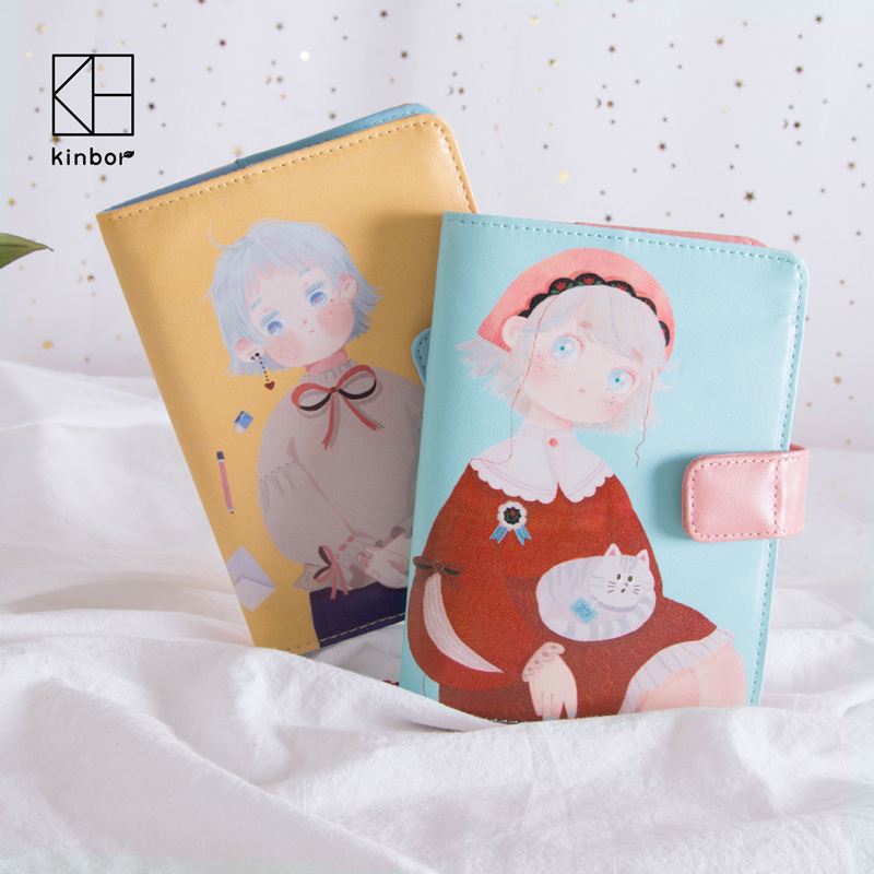 цена на Kinbor Cute Girls A6 Notebook Hobonichi Style Leather Cover Travel Planner Notepad Personal Journal Diary Book Kawaii Stationery