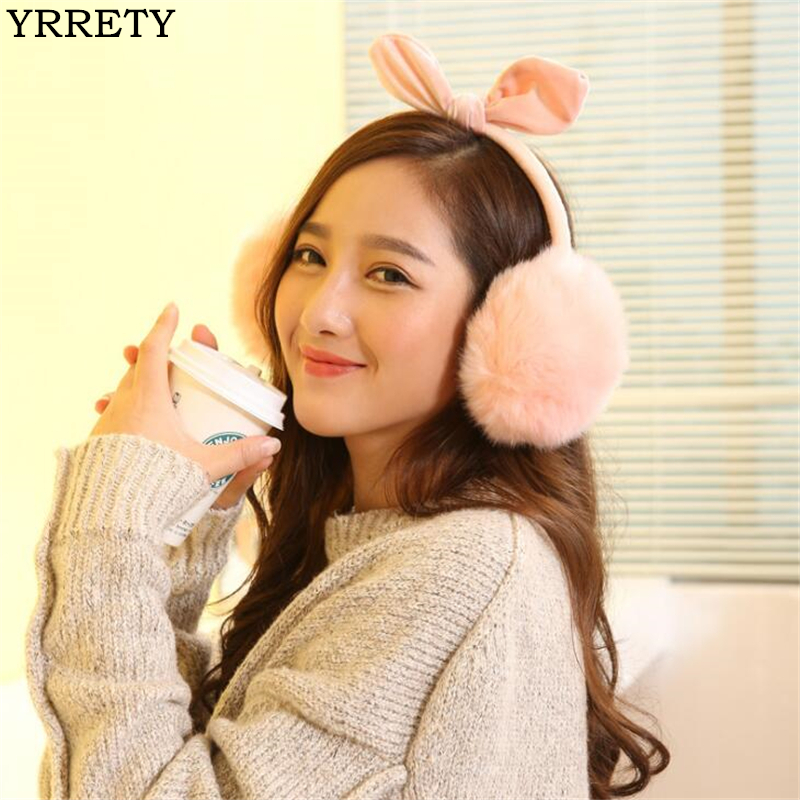 YRRETY 2018 Fashion Cute Sweet New Winter Lovely Comfort Rabbit Fur Ear Solid Color Oreilles Warmers Winter Earmuffs For Women