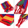 High Quality Garden Outdoor Hammock Striped Canvas Protable Hanging Bed for Outdoor Camping Travel 250*80cm - Red