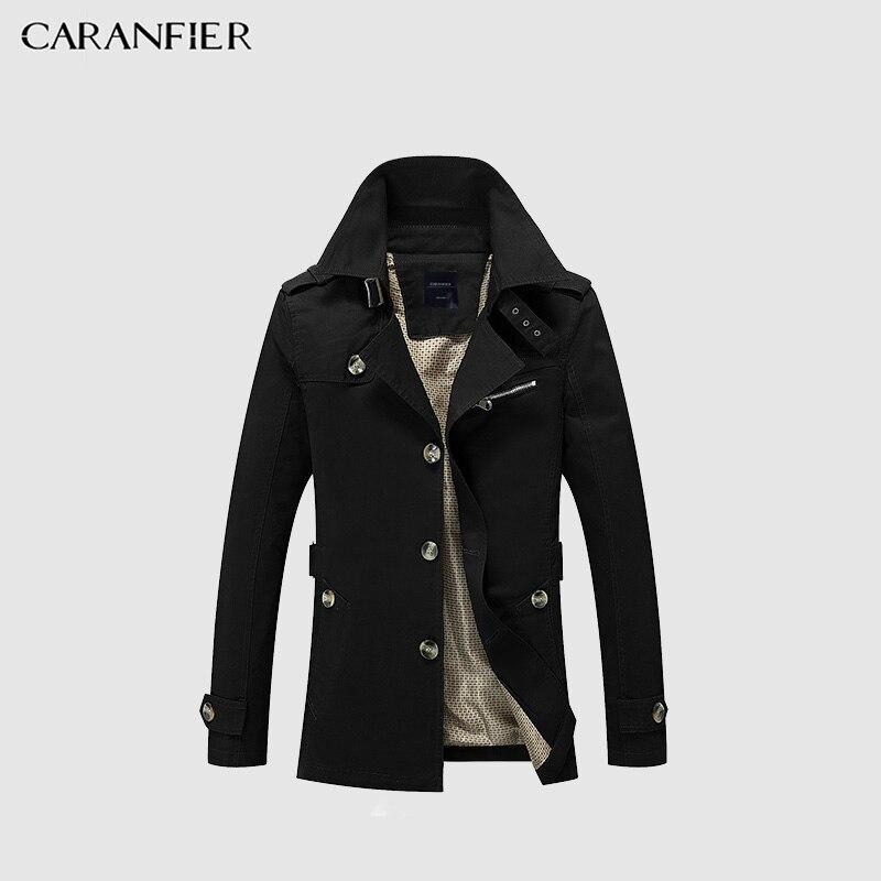 CARANFIER Hommes Veste Automne Long Slim Fit Vêtements De Haute Qualité Trench Coat Casual Solide Couleur Hommes D'affaires Veste Pardessus Hommes