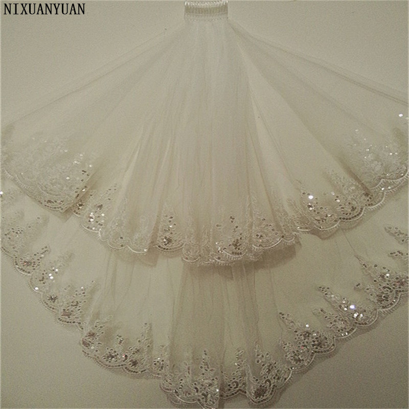 New Princess Wedding Veils With Appliqued Short White/Ivory Romantic Wedding Accessories Elegant 2 Layers Bridal Veils With Comb
