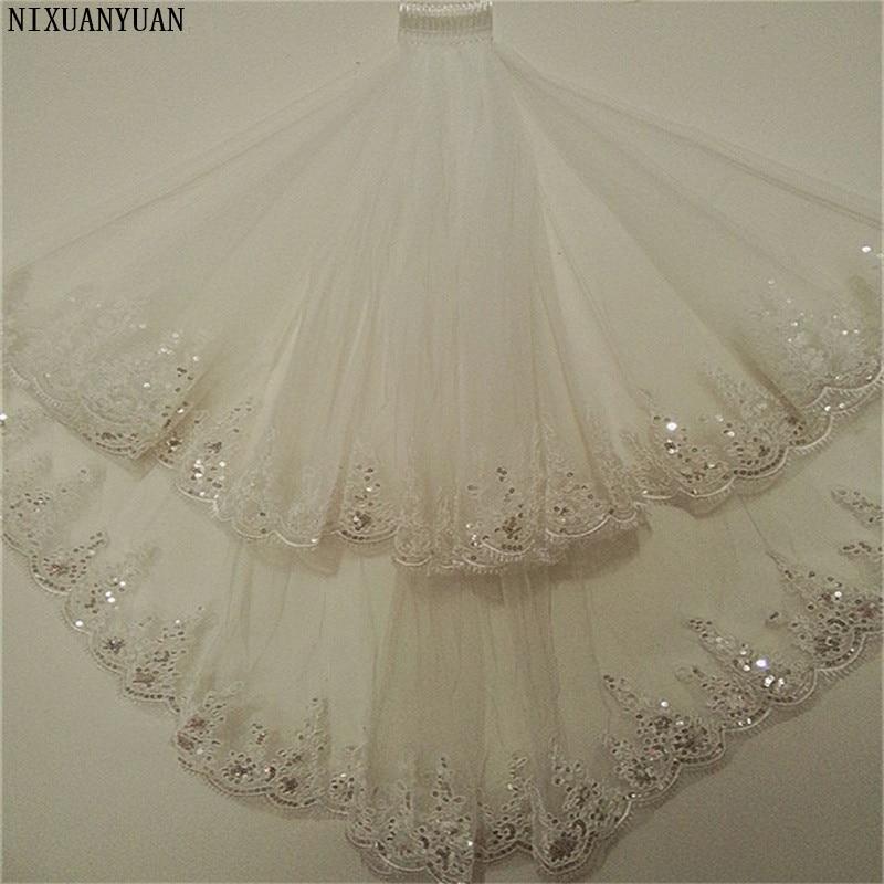 New Princess Wedding Veils with Appliqued Short White Ivory Romantic Wedding Accessories Elegant 2 Layers Bridal