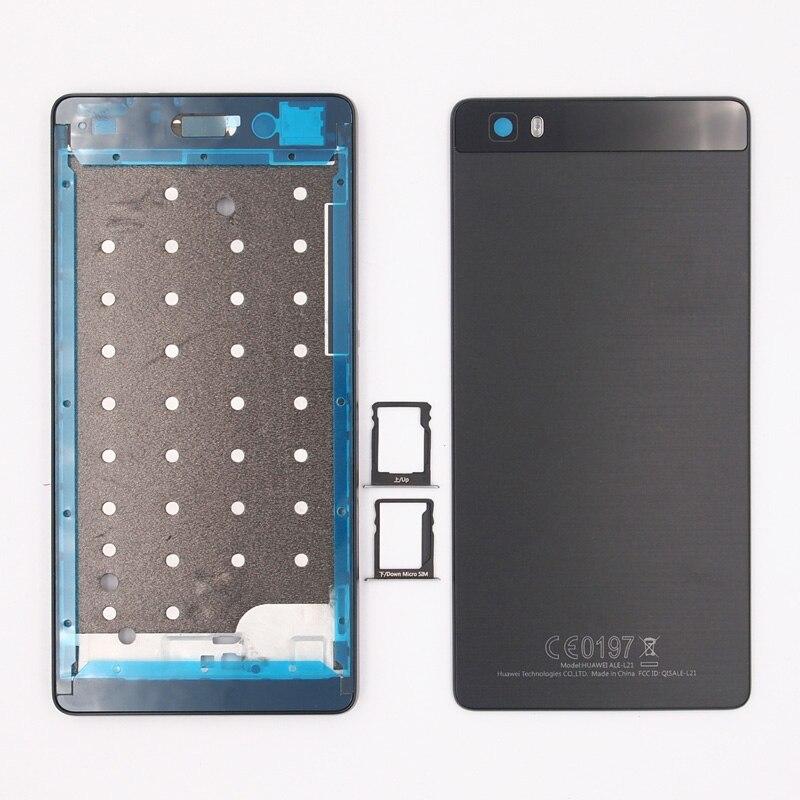 imágenes para 100% Nueva Pantalla Frontal Marco de La Batería Back Door Cubierta de la Tarjeta SIM bandeja de la Caja de La Cubierta Para Huawei Ascend P8 Lite Con Botones Laterales