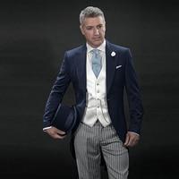 Темно синие Ретро фрак полосатые брюки итальянское утро костюм Для мужчин костюм Свадебные Жених Для мужчин классический костюм мужской пи