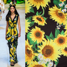 Wide 140cm Sunflower Printed Meter Fabric Polyester Fabric Satin Quilting home Cloth patchwork Sewing Material DIY Women's Dress