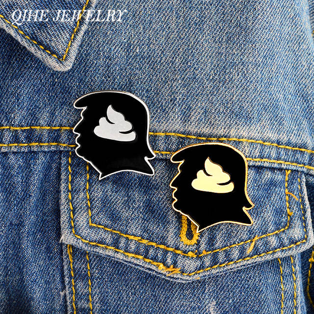 1a0657385373 QIHE JEWELRY 2pcs/set Trump shithead pin Hard enamel lapel pins Badges  Brooches Funny pins Leather jackets Backpack Jewelry