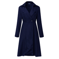 Trench Coat Women Long Trench Coat OL Ladies Long Sleeve Single Breasted Autumn Spring Trench Dress