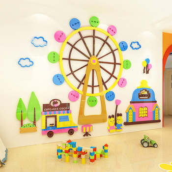 Creative INS  Ferris wheel DIY Children's room bedroom home living room TV background wall decoration 3D acrylic wall sticker