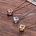 Christmas Gift Collar Choker CZ Cube Stainless Steel  Rose Gold Plated Pendant Necklaces for Women Men jewelry Collier Femme