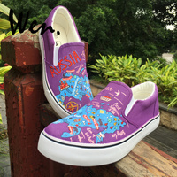 Wen Unisex Design The Russian Federation Cities Geographic Location Map Hand Painted Flat Shoes Slip On Purple Canvas Sneakers