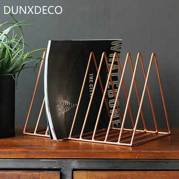 DUNXDECOโฮมออฟฟิศเหล็กที่เก็บหนังสือนิตยสารไอไลค์ที่วางโต๊ะมัลติฟังก์ชั่Organizer Modernศิลปะเรขาคณิตตกแต่ง - SALE ITEM บ้านและสวน