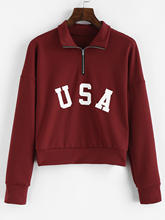 ZAFUL Top Sweatshirts Vrouwen Casual Drop Schouder Amerikaanse Vlag Print Capuchon Sweater Top Fashion Warm Sweatshirt Vrouwen 2019(China)