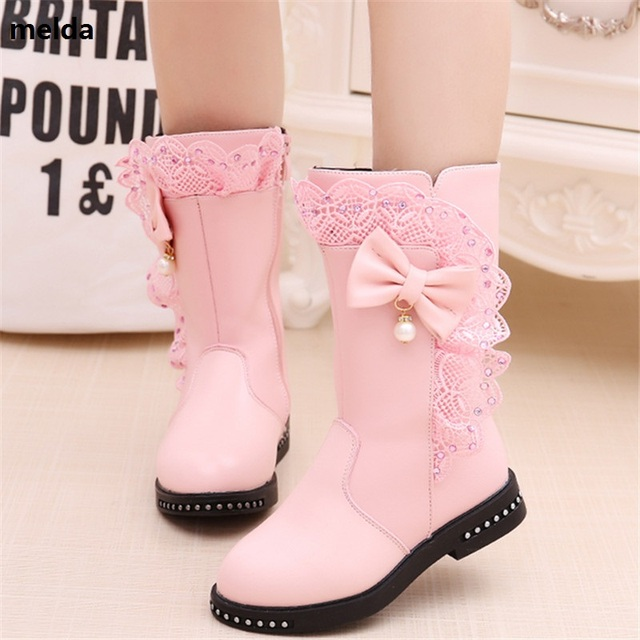 4-13 Year Old Autumn Winter New Girls Fashion Floral Shoes Princess Rivets  Pu Leather Shoes Kids Butterfly Knot Waterproof Shoes dc307ba9becd