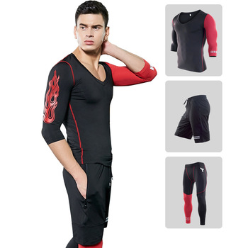 2019 Running Set Men's Gym Clothes Stretchy Compression Tights Sportswear Fitness Training Sports Jogging Suits 3 in1 set #1824