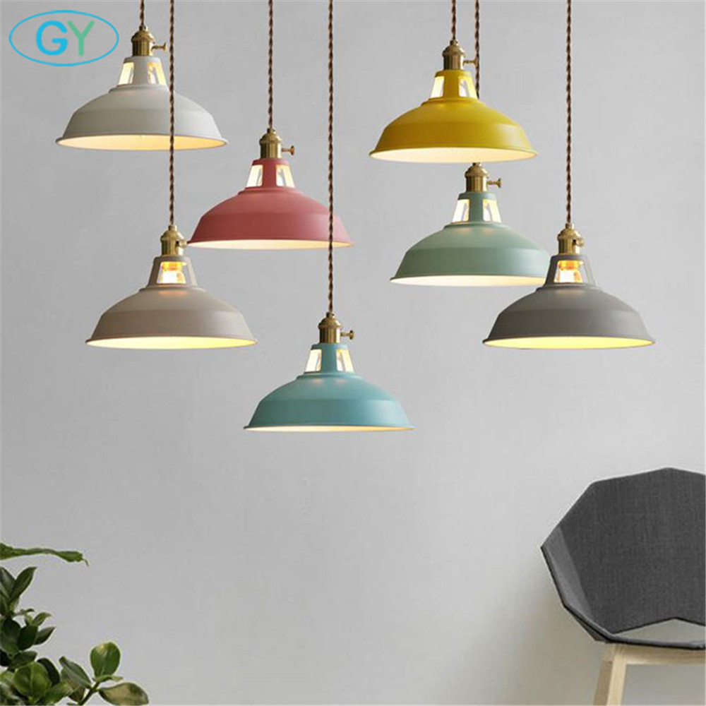 Designer lights Nordic modern pendant light Europe style restaurant coffee shop bar pendant lamp art colorful metal lighting metal pendant light nordic style pendant lights office furniture simple modern lighting contains bulb free shipping