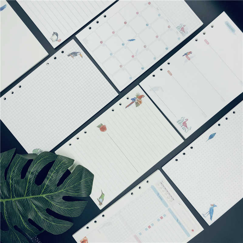 Fromthenon A5A6A7 6 Holes Binder Notebook Refill For Spiral Planner Filler Papers Inside Page Diary Weekly Monthly Dotted Grid