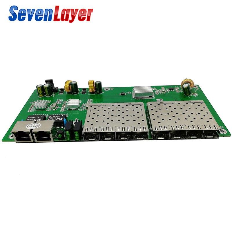 10/100/1000 M 8 Sfp 2 Rj45 Gigabit Ethernet Switch Pcba Bord Fiber Optical Media Converter 8 Port 1,25g Sfp